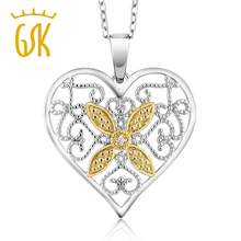 Gemstoneking natural magnífico acento latón diamante corazón colgante con 18 pulgadas cadena