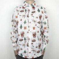 Grappige Lelijke Kerst Shirt voor Mannen Stijlvolle Xmas Party Mannelijke Smoking Overhemd Wit Oversized Lange Mouwen M-2XL