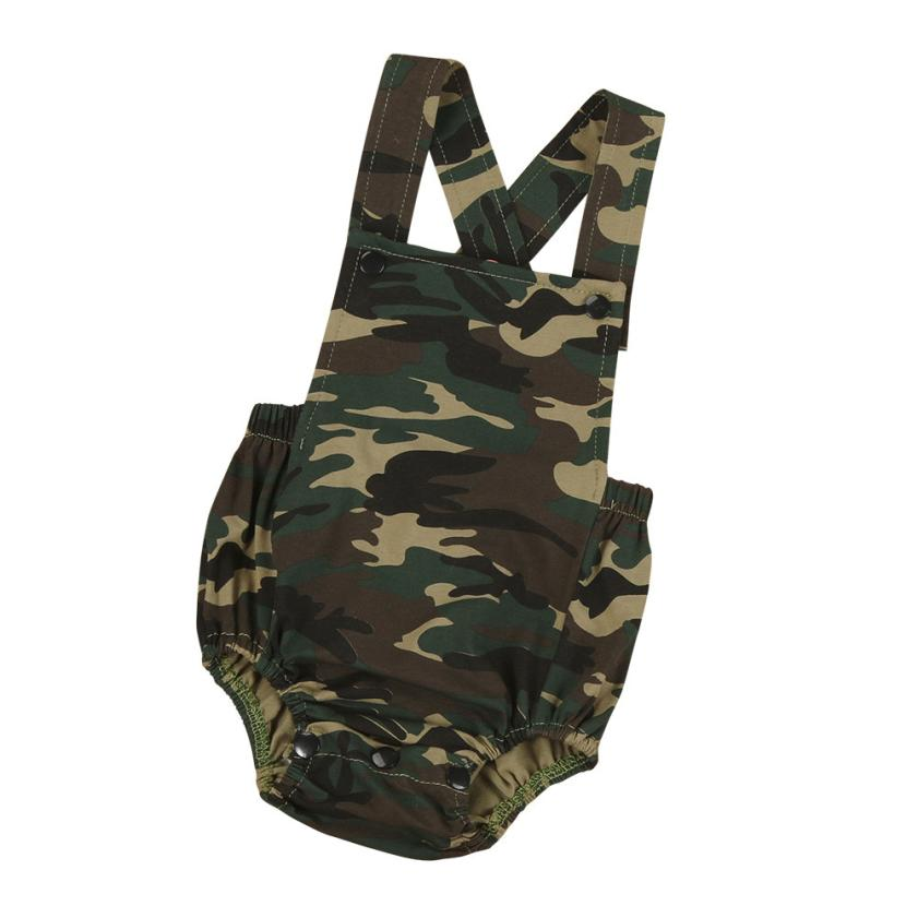 MUQGEW Newborn Infant Overalls Cute Camouflage Print Baby Boy Overalls Sleeveless Romper Jumpsuit