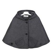 Chaqueta con capucha de mezcla de lana para niña, Poncho, Carseat, Color gris, manga de murciélago, bolsillos, moda de primavera y otoño