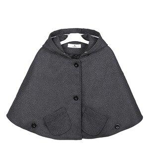 Image 1 - Chaqueta con capucha de mezcla de lana para niña, Poncho, Carseat, Color gris, manga de murciélago, bolsillos, moda de primavera y otoño