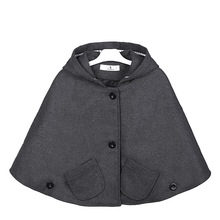 Girls Wool Blend Hoodie Capes Poncho Carseat Jacket Gray Color Batwing Sleeve Pockets Spring Fall Fashion Jackets Outwears