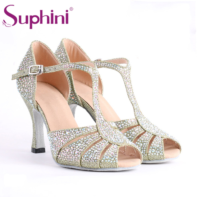 Green Glitter Latin Dancing Shoes Women s Professional Salsa Ballroom  Dancing Shoes 8CM Height Heel Free Shipping 84d9dd3411da