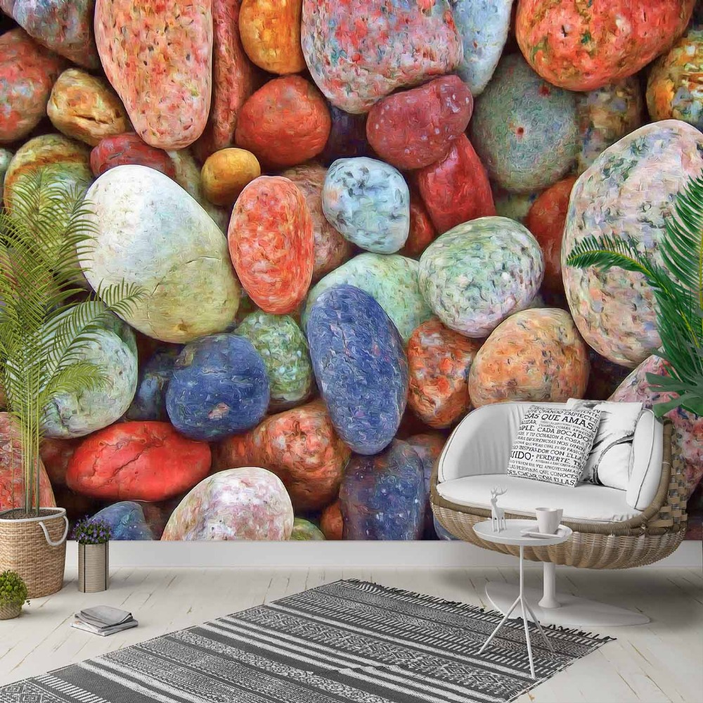 Else Blue Orange Brown Gray Pebble Sea Stone 3d Photo Cleanable Fabric Mural Home Decor Living Room Bedroom Background Wallpaper