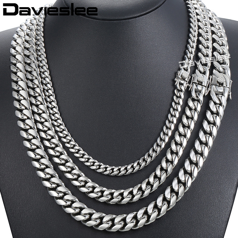 все цены на Davieslee Miami Curb Cuban Mens Necklace Chain Hip Hop 316L Stainless Steel Silver Gold Color 8/12/14mm DHNM19 онлайн