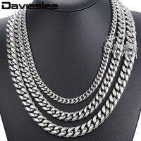 Davieslee Miami Curb cubanos Mens collar cadena Hip Hop 316L Acero inoxidable plata Color oro 8/12/14 MM DHNM19