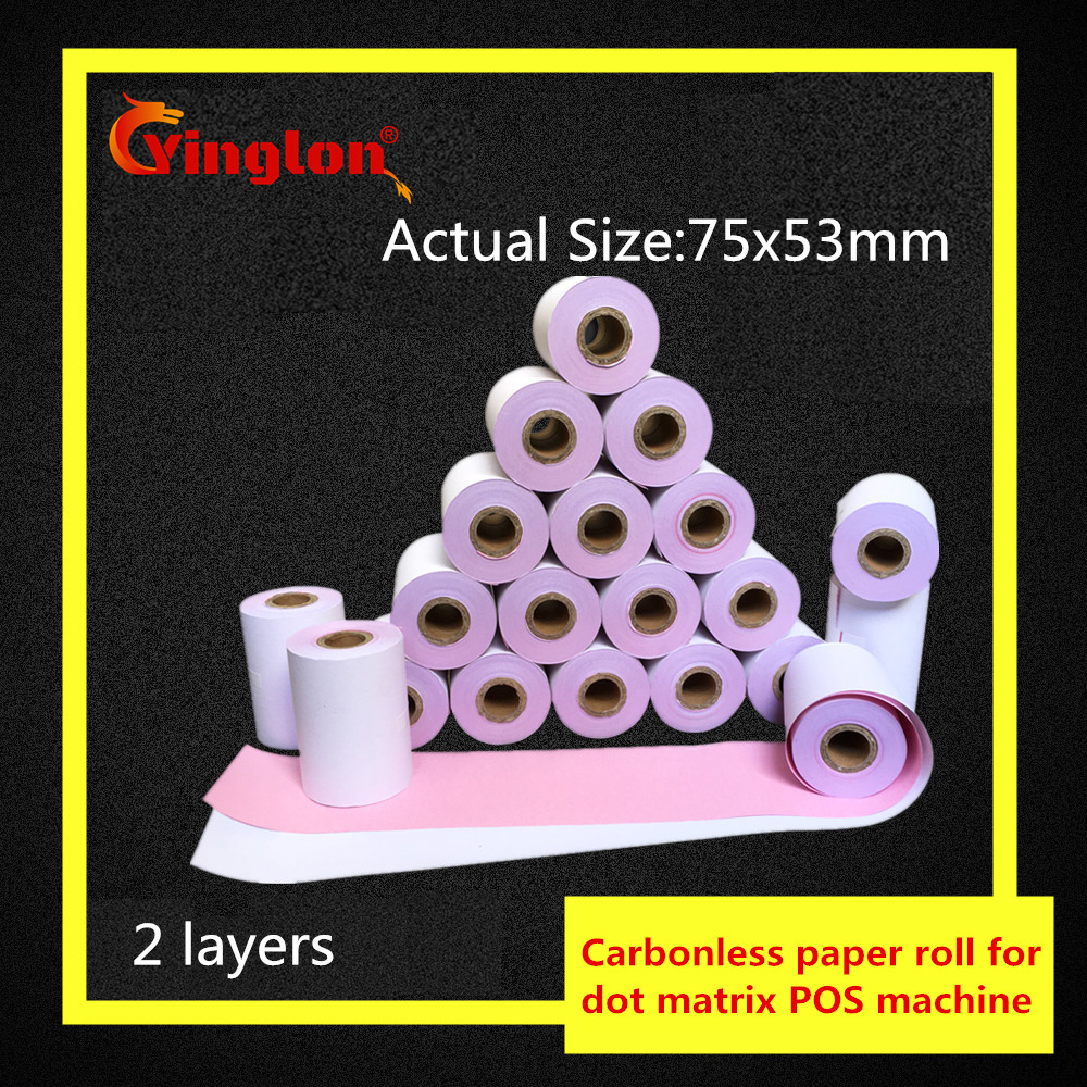 1rolls/lot 75x60mm Double Layer Cash Register Paper 2 Layer Carbonless Paper Roll For 75*60 POS Cash Register Paper