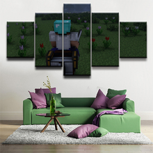 5 Panel Game Poster Canvas Painting Minecraft Modern Wall Art Canvas Printed Pictures Home Decor For Living Room Artwork Cuadros 5 pieces minecraft painting wall art modular pictures canvas printed modern artwork pictures wall decor game poster home decor