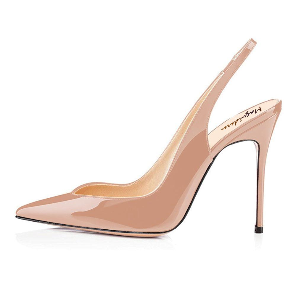 Maguidern Slingback Pumps Shoes,Patent Leather Pointy Toe 4 inches Stilettos <font><b>Heel</b></font> Slingback Pumps Dress Shoes <font><b>Size</b></font> US 4 to <font><b>15</b></font> image