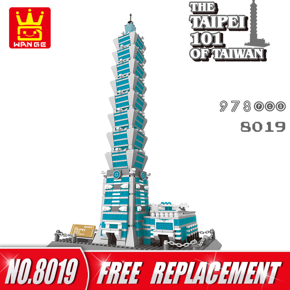 WANGE Architecture Series Building Blocks 1511pcs The Taipel 101 of Taiwan  Bricks DIY Funny Kids Toys Home Decor NO.8019 wange mechanical application of the crown gear model building blocks for children the pulley scientific learning education toys