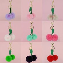 11 Color Fluffy Cute Cherry Key Chain Pendant Leaf Keyring Faux Rabbit Fur Ball Fruit Keychains Women Bag Charms Jewelry(China)