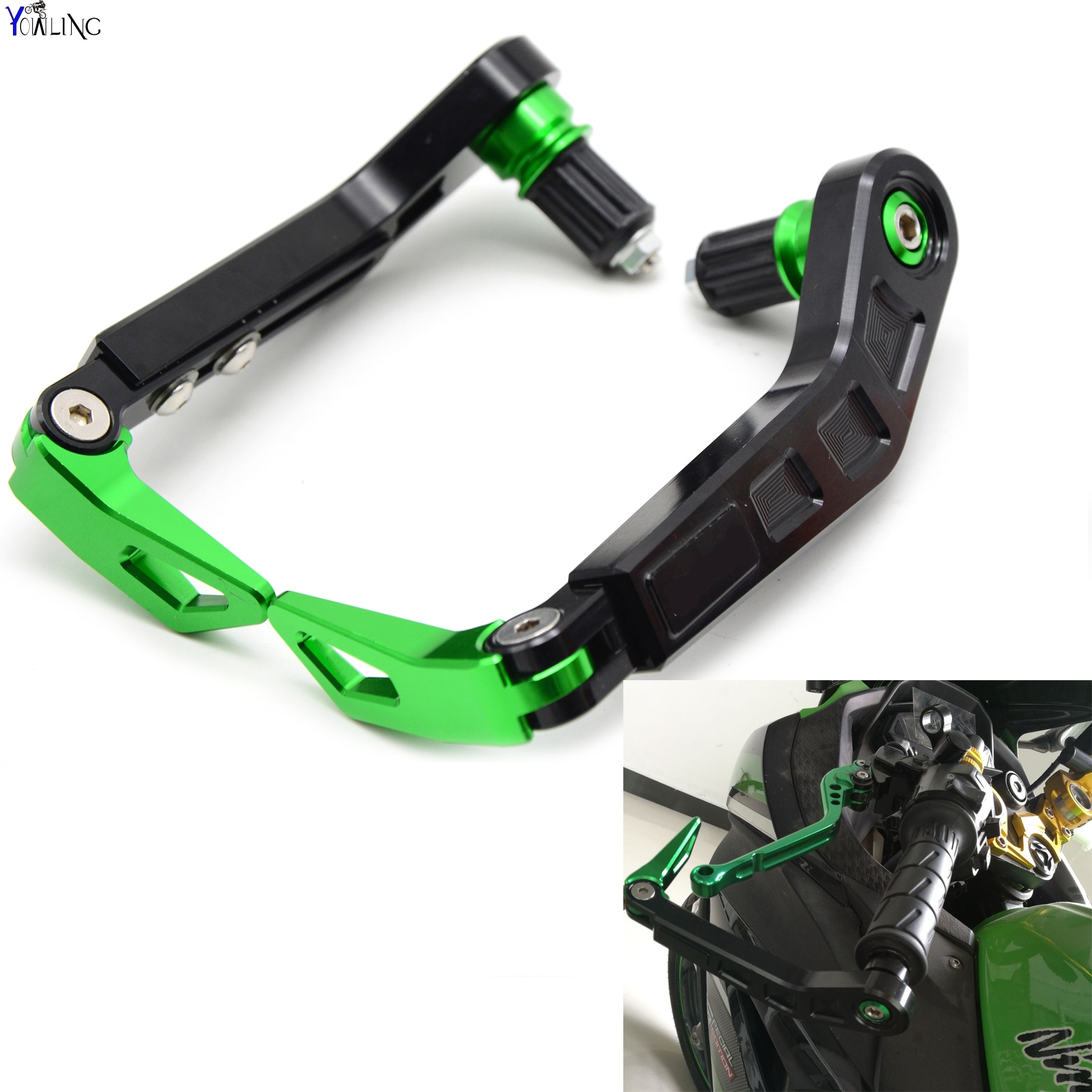 Universal 7/822mm Motorcycle Handlebar Brake Clutch Lever Protect Guard for Kawasaki GTR1400 / CONCOURS H2 H2R MONSTER ZX9R universal 7 8 22mm cnc motorcycle handlebar protector guard proguard brake clutch levers protect for ducati monster 696 695 796
