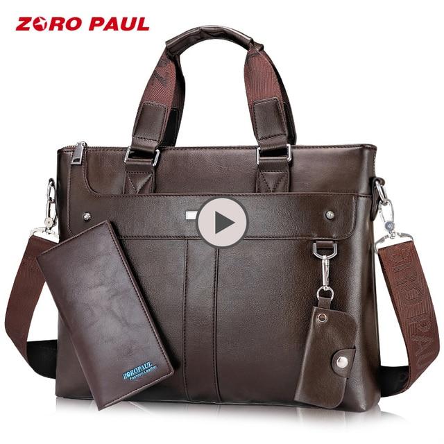 ZORO PAUL мужская сумка-портфель 14 дюймов Сумка для ноутбука деловая кожаная сумка через плечо мужская сумка с кошельком