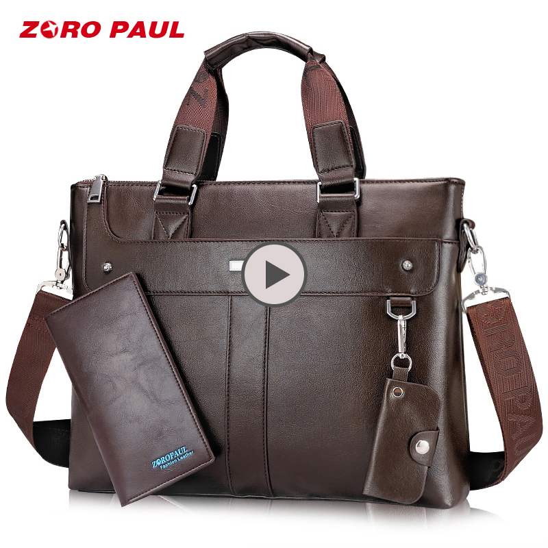 ZORO PAUL Men's Tote Briefcase 14inch Laptop Bag Business Shoulder Leather Messenger Bags Male Handbag Men Bag with Purse сумка zoro paul zr1901 3