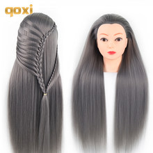 Qoxi Professional training heads with long thick hairs practice Hairdressing mannequin dolls hair Styling maniqui tete for sale(China)