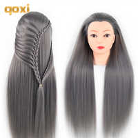 Qoxi Professionelle ausbildung köpfe mit langen dicken haare praxis Friseur mannequin puppen haar Styling maniqui tete für verkauf