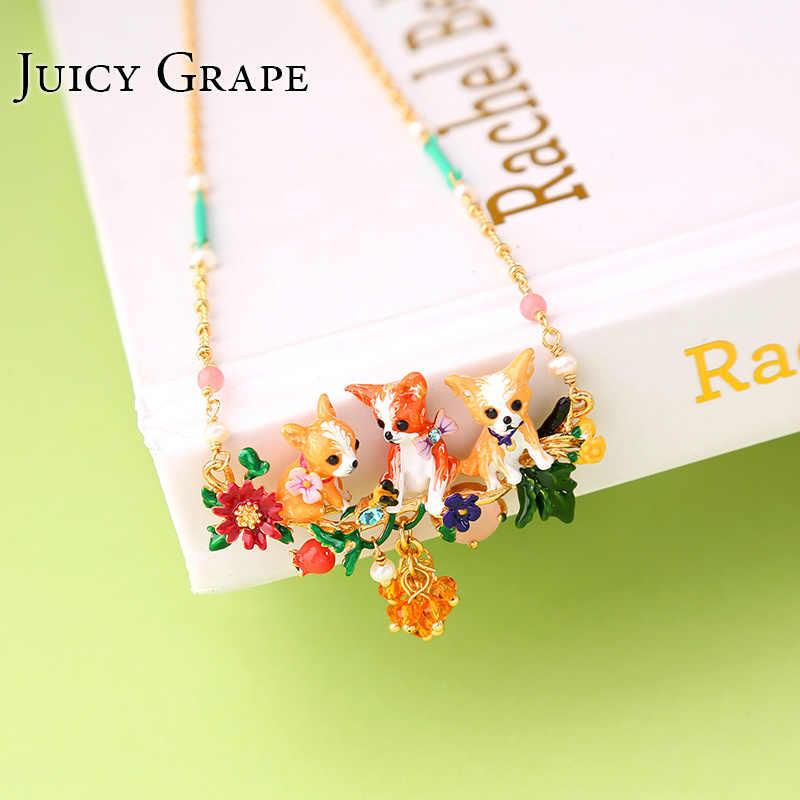 עסיסי ענבים מתוק חמוד בעלי החיים כלבים שרשרת קולר חדש תכשיטים לנשים צבע עשיר רויאל סגנון תליון שרשרת