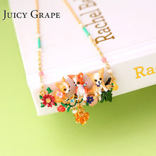 Juicy Grape Sweet Cute Animal Dogs Necklace Choker New Fashion Jewelry For Women Color Rich Royal Style Pendant Necklace(China)