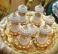 6 person TEA set crystals and beads silver or gold color with big tray
