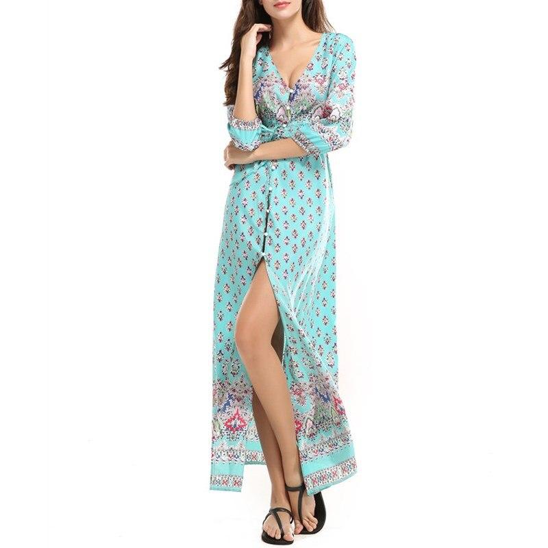 2018 Floral Print Chiffon Long Dess Women V Neck Front Split Beach Summer Boho Dress Sexy Elegant Maxi Dresses Robe Vestidos