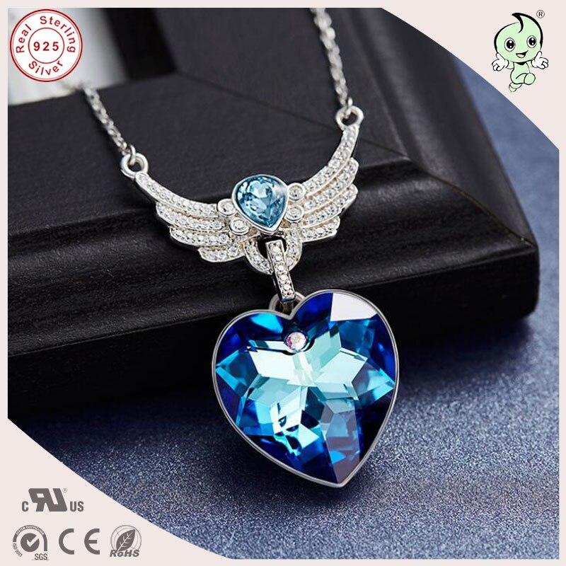 Bonne qualité populaire amour série 925 argent cadeau bijoux bleu célèbre cristaux 925 en argent Sterling aile coeur pendentif collier