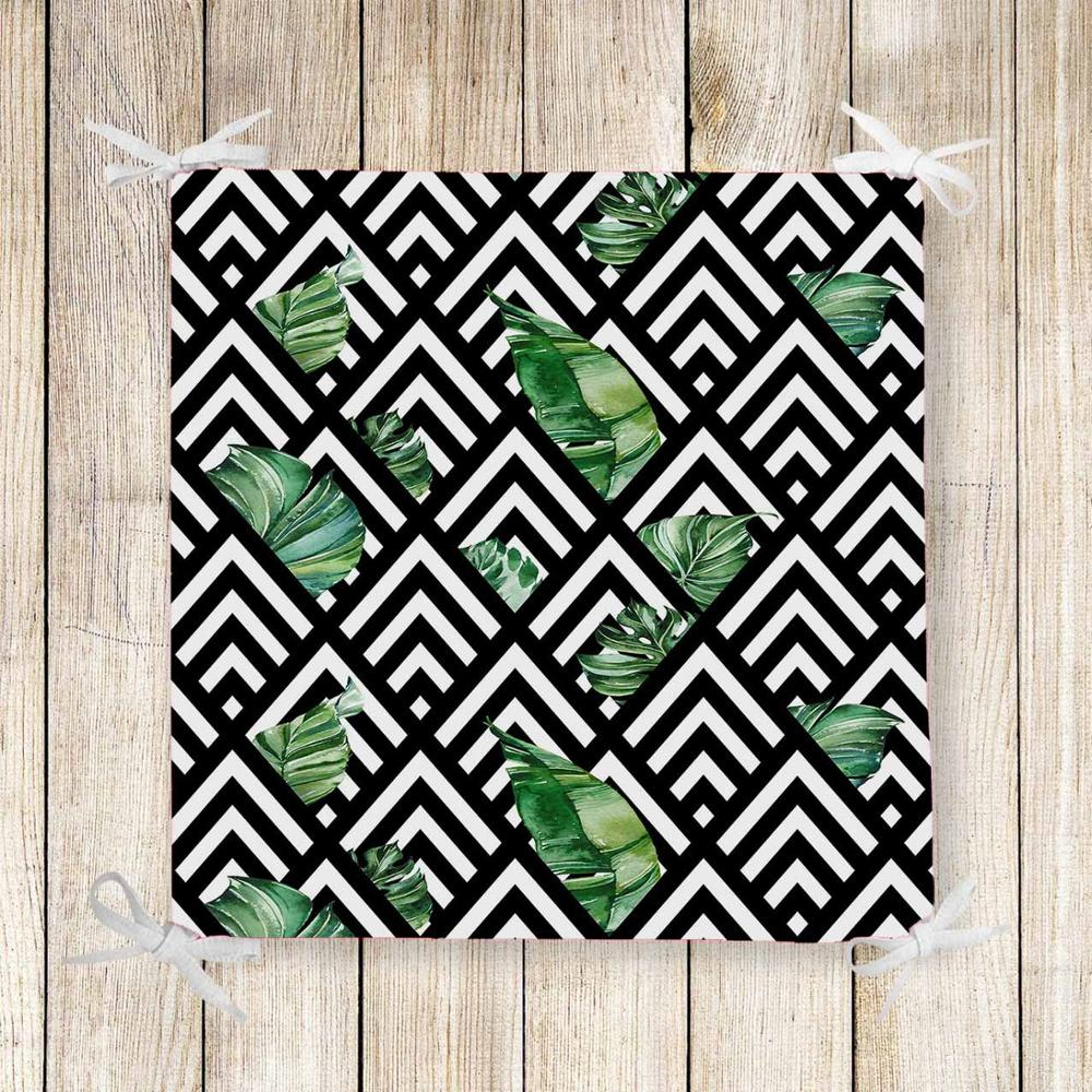 Else Black White Lines Green Leaves 3d Print Chair Pad Seat Cushion Soft Memory Foam Full Lenght Ties Non Slip Washable Zipper