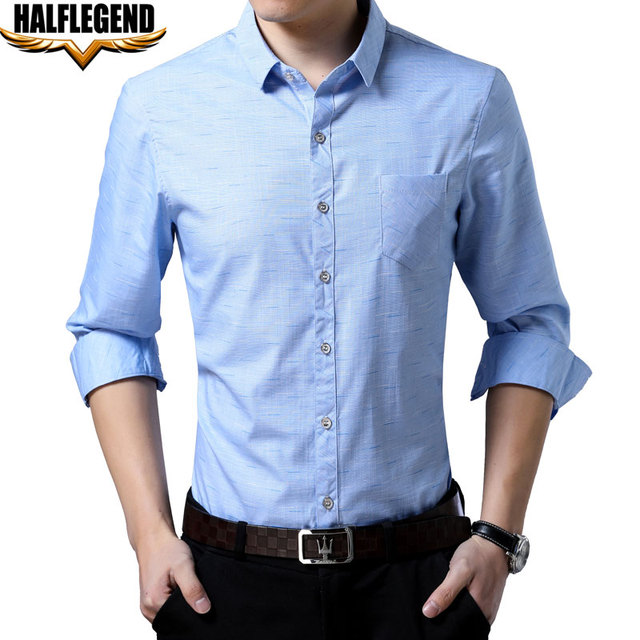 daa1a472bde1c HALFLEGEND 2018 Spring Men Shirt Long Sleeve Casual Button Down Business  Formal Slim Fit Big Tall Dress Shirts for Men s 3xl 4xl