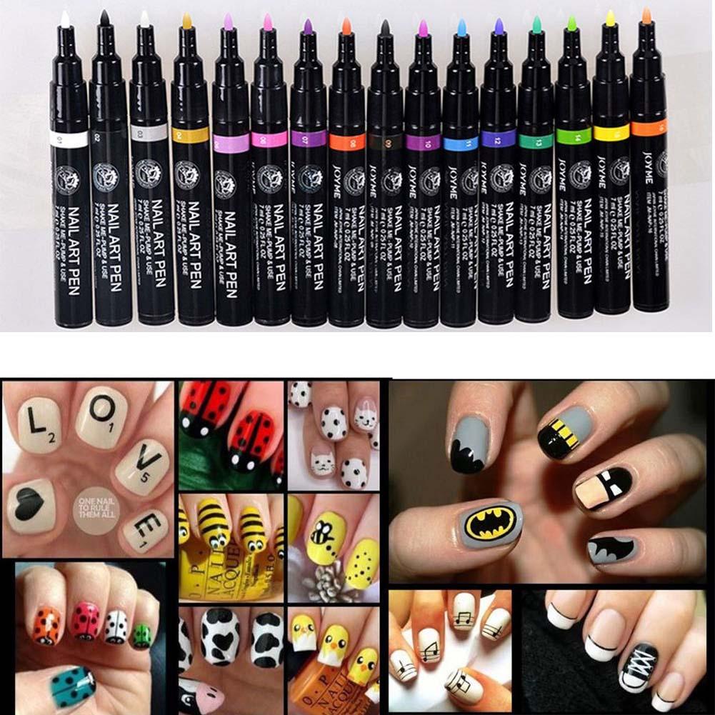 Set Migi Nail Art Penbrush In 16 Colors8 Pens Pastel Neon Shades