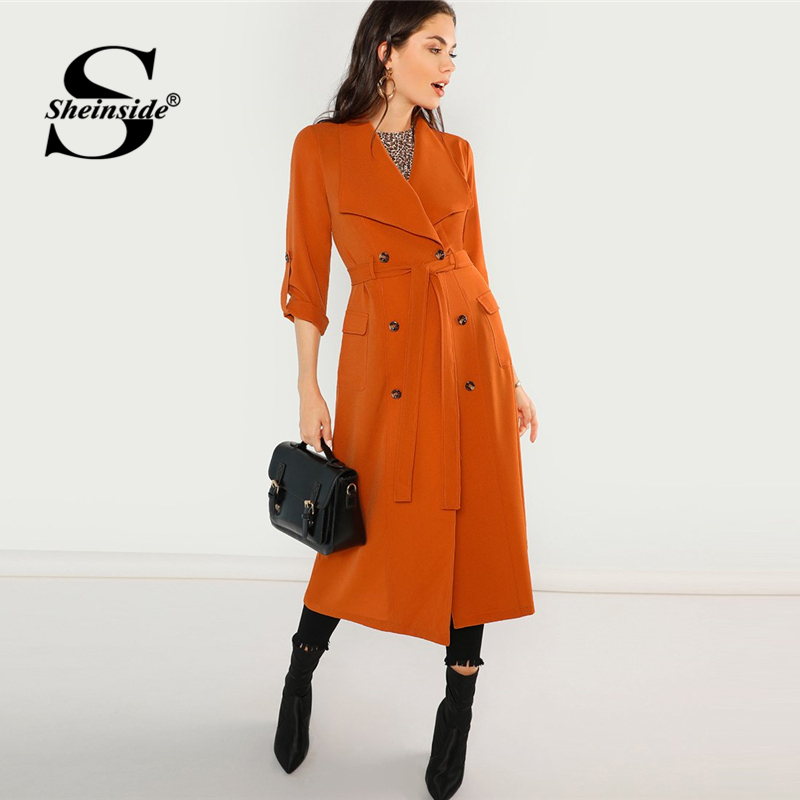 Sheinside Orange Waterfall Trench Coat Women Waist Belted Double Breasted Outerwear 2018 Fall Clothes Office Ladies Long Coats