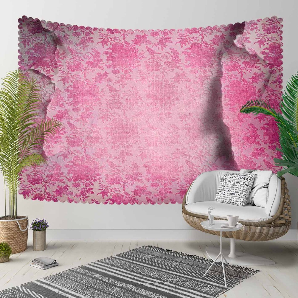 Else Pink Vintage Floral Ethnic Aging Wall Stones 3D Print Decorative Hippi Bohemian Wall Hanging Landscape Tapestry Wall Art