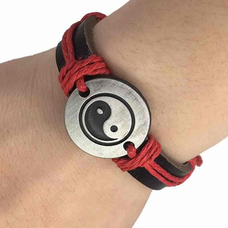 W stylu Vintage Amulet pokoju skórzane bransoletki Rune kobiet 2018 biżuteria Tai Chi Yin Yang mężczyzn Punk łańcuch Charm Unisex