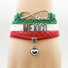 infinity love mexico Bracelet heart Charm bracelet love my motherland mexico bracelets & bangles for woman and man(China)