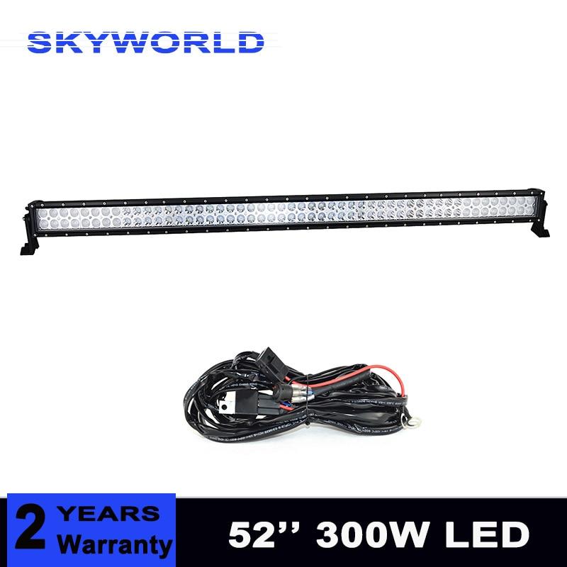 300W LED Work Light Bar 52 Inch For OffRoad Boat Car Roof Light Truck 4x4 SUV ATV Fog Lamp Combo Beam цены онлайн
