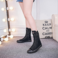 Big Size 34 43 Women Lace up Canvas Mid Calf Boots Thick Flat Heel Womens Casual Shoes High top lace boots flats canvas MA 67