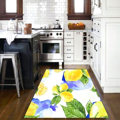 Else Blue Watercolor Yellow Lemons Green Leaves 3d Print Non Slip Microfiber Kitchen Modern Decorative Washable Area Rug Mat