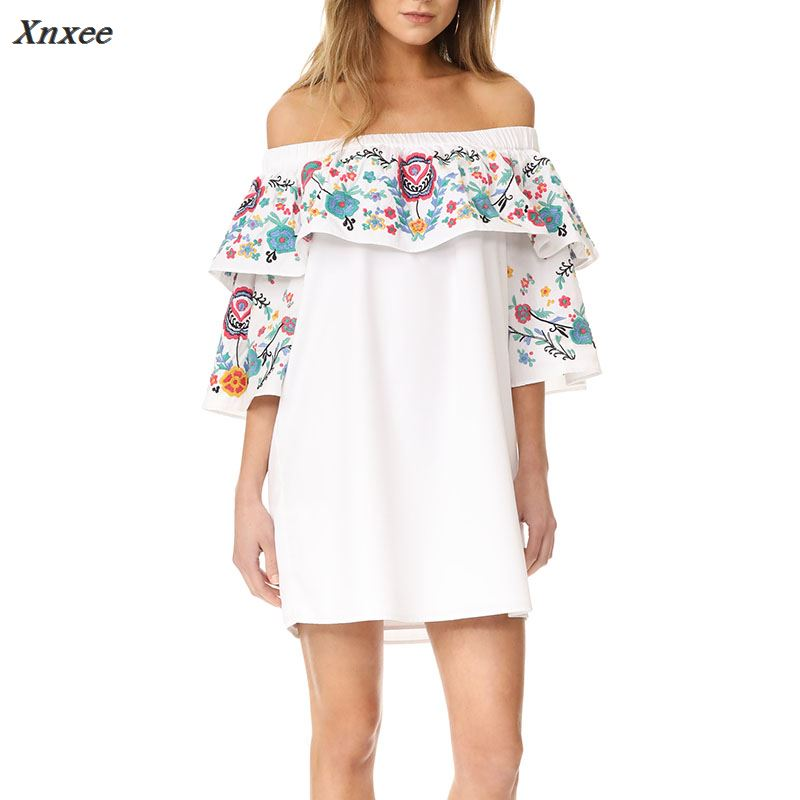 Fashion Mini Women Dress 2018 Summer Floral Print Ruffles Half Sleeve Slash Neck Off Shoulder Loose Ladies Casual Party Elegant in Dresses from Women 39 s Clothing