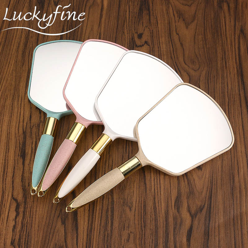 1pcs Cute Pink White Plastic Vintage Hand mirrors Makeup Vanity Mirror Rectangle Hand Hold Cosmetic Mirror With Handle For Gifts