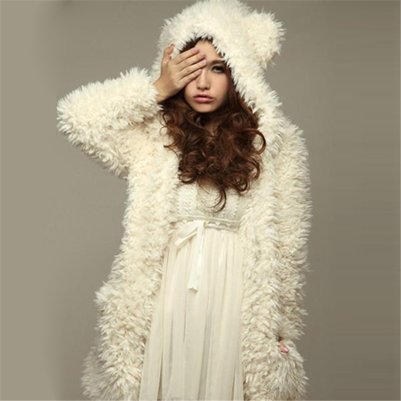 ZANZEA Teddy Bear Ears Coat Hoodies Sweatshirt Women 2018 Winter Warm Thick Soft Fleece Fur Overcoat Hooded jacket Plus Size 3XL ...