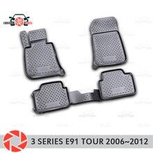 Коврики для BMW 3 Series Touring E91 2006 ~ 2012 Нескользящие полиуретановые предохранение от грязи интерьерные Аксессуары для автомобилей