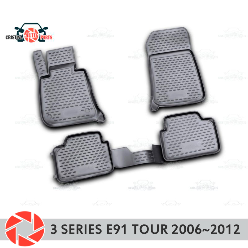 Floor mats for BMW 3 Series Touring E91 2006~2012 rugs non slip polyurethane dirt protection interior car styling accessories автомобиль bburago bmw 3 series touring 1 24 белый 18 22116