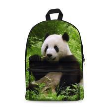 Canvas Backpack Black Daypack laptop Bag Cute Panda Design for Boys Girls School