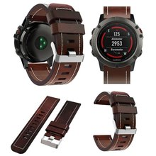 Leather Band Bracelet Wrist Bands Replacement with Durable Folding Metal Clasp for Garmin  Fenix 3 / Fenix 3 HR / Fenix 5X Smart