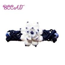 BCCAT New Ethnic Jewelry Handmade Weave Wax Rope Cuff Bracelets For Women Ceramics Hand Pinch Flower Porcelain Wristband Bangles