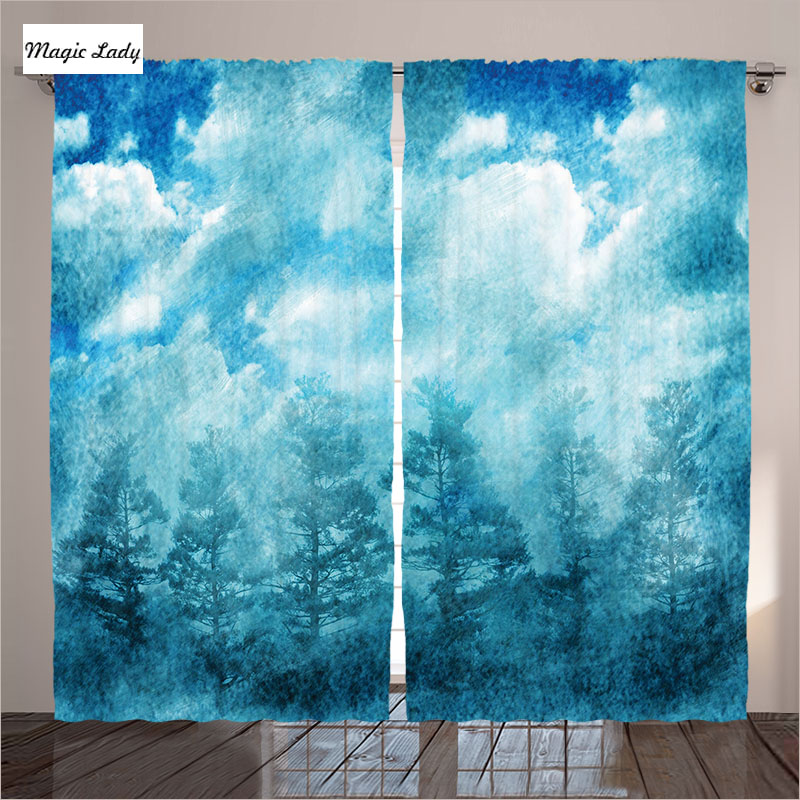 Sheers Curtains Living Room Bedroom Grunge Illustration Nature Night Sky Picture Blue Teal Art