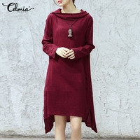 Celmia Plus Size S 5XL Women Hooded Dress 2018 Autumn Mid Calf Vestido Long Sleeve Tops