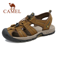 CAMEL Men's Shoes Genuine Leather Sandals Men Natural Cowhide Leather Casual Shoes Beach Outdoor Non slip Wrapped Toe Sandal