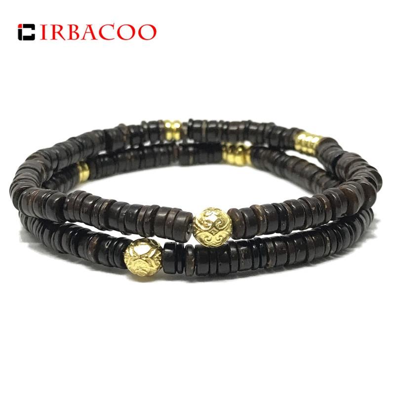 IRBACOO 2018 Brand New Fashion Men Bracelet 6mm Coconut Beads With Diy Charm Bracelet For Men Jewelry Gift
