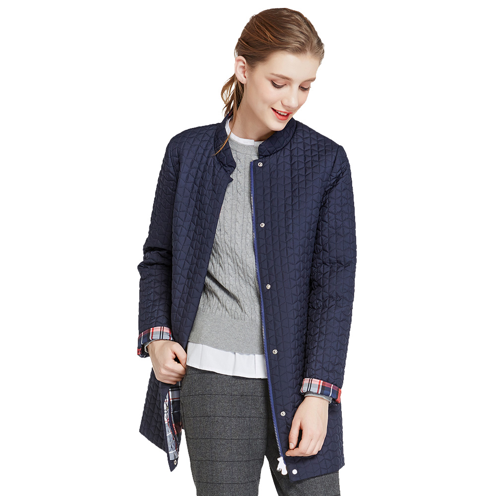 ICEbear 2017 Inside Zipper Pocket Designed Cotton Padded Fashion Jacket In Womens Parkas Long Thin Women Spring Coats 17G270D