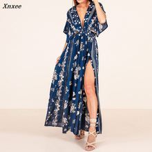 New Women Summer Long Dress Femme Loose Sexy Deep V Neck Floral Print High Split Dresses Ladies Casual Boho Party Maxi Vestidos цена