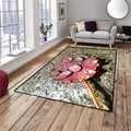 Autre pierres gris foncé rouge séché feuille sur l'eau impression 3d antidérapant microfibre salon décoratif moderne lavable zone tapis